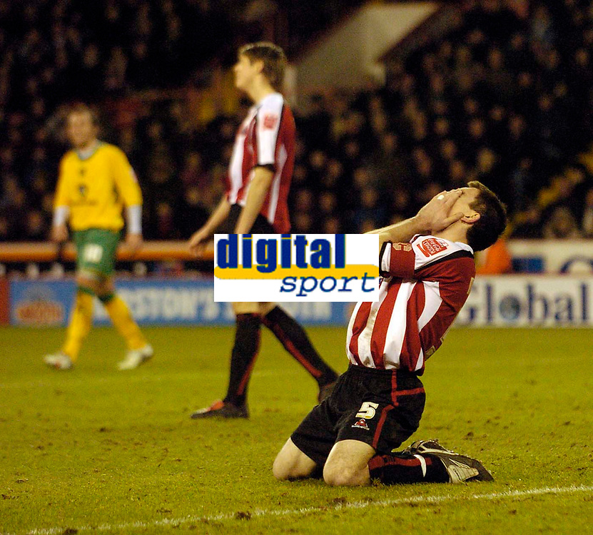 Photo: Jed Wee.<br />Sheffield United v Norwich City. Coca Cola Championship.<br />26/12/2005.<br />Sheffield United's Chris Morgan has his head in his hands after the clearance of Dean Ashton's shot rebounds off him and into the back of the net for an own goal.