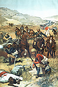 The Last Shot in the Sudan. Chromolithograph published 1885 showing the end of one of the British campaigns in the Sudan.