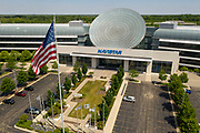 Aerial drone image of the Navistar Corporate Headquarters in Lisle, Illinois. Navistar operates as the owner of the International brand of trucks and diesel engines and is the successor to International Harvester. Navistar and has subsidiaries world wide in the defense, engine and trucking industry.