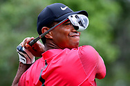 May 13, 2018; Ponte Vedra Beach, FL, USA; Tiger Woods plays his shot from the second tee during the final round of The Players Championship golf tournament at TPC Sawgrass - Stadium Course. Mandatory Credit: Peter Casey-USA TODAY Sports