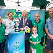 27.07.17.          <br /> Ireland Women's Rugby captain Niamh Briggs was mobbed by young fans in Limerick earlier today (Thursday) as she arrived in the city by boat for the Women's Rugby World Cup trophy tour.<br /> <br /> Pictured at the event were left to right, Nicole Cronin, Ireland Women's Rugby Team, Fiona Coghlan, Former International Rugby Player, Mayor of Limerick, Cllr Stephen Keary, Niamh Briggs, Ireland Womens Rugby Captain, Tom Tierney, Ireland Womens Rugby Coach and Isabel Tierney.<br /> <br />  The Limerick based garda and Munster fullback was escorted on the River Shannon by Limerick Marine Search and Rescue along with Nevsail kayakers as she made her way to Arthur's Quay jetty to be officially met by Mayor of Limerick, Cllr Stephen Keary. Picture: Alan Place