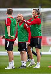 CARDIFF, WALES - Wednesday, September 2, 2020: Wales' captain Gareth Bale (R) rubs the head of Jonathan Williams during a training session at the Vale Resort ahead of the UEFA Nations League Group Stage League B Group 4 match between Finland and Wales. (Pic by David Rawcliffe/Propaganda)