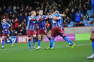 David Mirfin goal celebration during the Sky Bet League 1 match between Scunthorpe United and Rochdale at Glanford Park, Scunthorpe, England on 28 December 2015. Photo by Daniel Youngs.