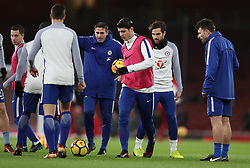 """Chelsea's Alvaro Morata during the warm up before the Premier League match at the Emirates Stadium, London. PRESS ASSOCIATION Photo. Picture date: Wednesday January 3, 2018. See PA story SOCCER Arsenal. Photo credit should read: Adam Davy/PA Wire. RESTRICTIONS: EDITORIAL USE ONLY No use with unauthorised audio, video, data, fixture lists, club/league logos or """"live"""" services. Online in-match use limited to 75 images, no video emulation. No use in betting, games or single club/league/player publications."""