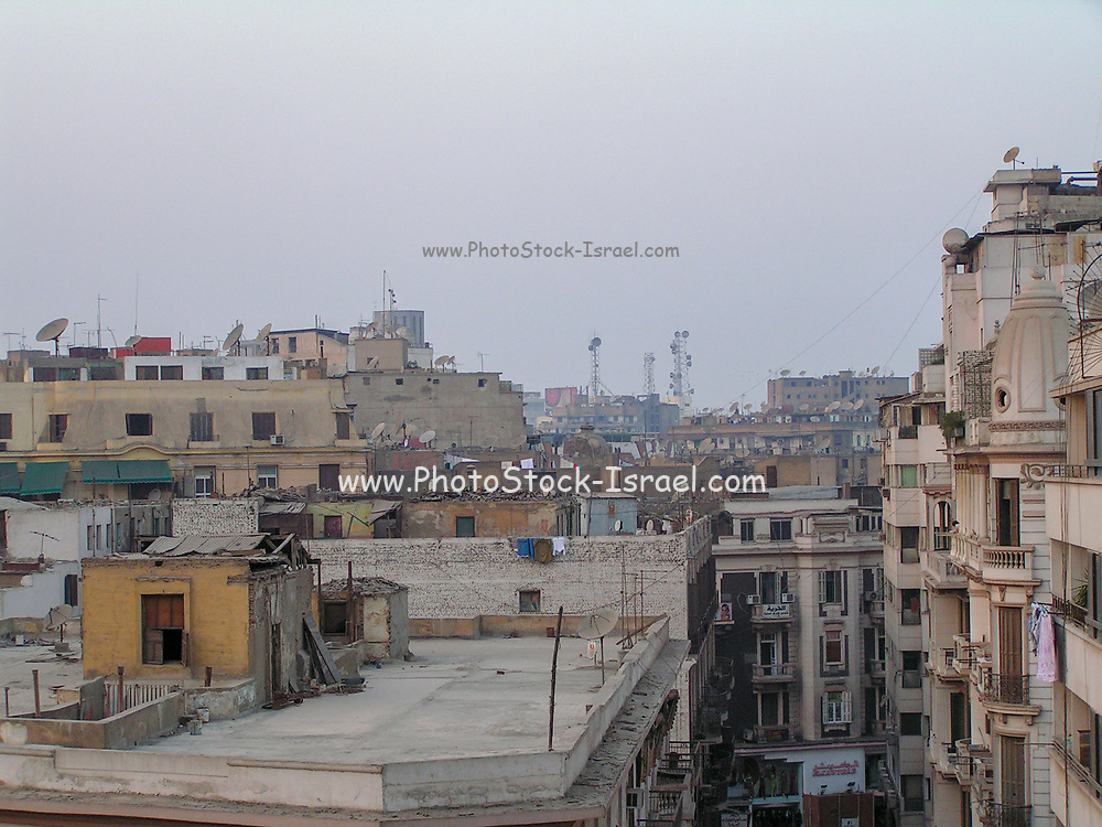 view over rooftops, Cityscape of Old Town Cairo, Egypt