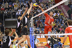 December 16, 2017 - Krakow, Malopolska, Poland - Tsvetan Sokolov (1) of Lube Civitanova in action against   two of SKRA Belchatow during the match between Lube Civitanova and SKRA Belchatow during the semi finals of Volleyball Men's Club World Championship 2017 in Tauron Arena. (Credit Image: © Omar Marques/SOPA via ZUMA Wire)