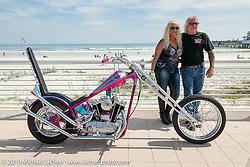 Lynn and Jack Deagazio with their custom Harley-Davidson Passion Built Sportster chopper at the Boardwalk Bike Show during Daytona Beach Bike Week, FL. USA. Friday, March 15, 2019. Photography ©2019 Michael Lichter.