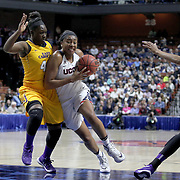 Morgan Tuck, (right), UConn, drives to the basket defended by DeVaughn Gray, East Carolina, during the UConn Huskies Vs East Carolina Pirates Quarter Final match at the  2016 American Athletic Conference Championships. Mohegan Sun Arena, Uncasville, Connecticut, USA. 5th March 2016. Photo Tim Clayton