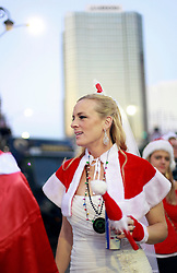 13 December 2014. New Orleans, Louisiana. <br /> Jennifer Hawk at the 4th annual running of the Santas in downtown New Orleans. Proceeds from the event benefit 'That Others May Love' charity.<br /> Photo; Charlie Varley/varleypix.com