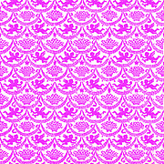 Repeating pattern of red winged angelic cherubs
