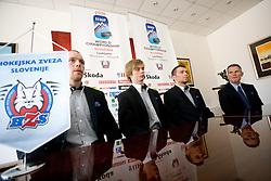 Andrej Tavzelj, Ziga Jeglic, Andrej Hocevar, John Harrington at press conference of Slovenian National team before Ice-Hockey World Championships Division I Ljubljana 2010, on April 16, 2010, in Hall Tivoli, Ljubljana, Slovenia.  (Photo by Vid Ponikvar / Sportida)