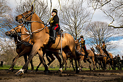 February 6, 2018 - London, UK. The King's Troop Royal Horse Artillery in full dress uniform ride out from Wellington Barracks into Green park to perform a 41-gun royal gun salute, to celebrate Queen Elizabeth II's accession to the throne. (Credit Image: © Tom Nicholson/London News Pictures via ZUMA Wire)
