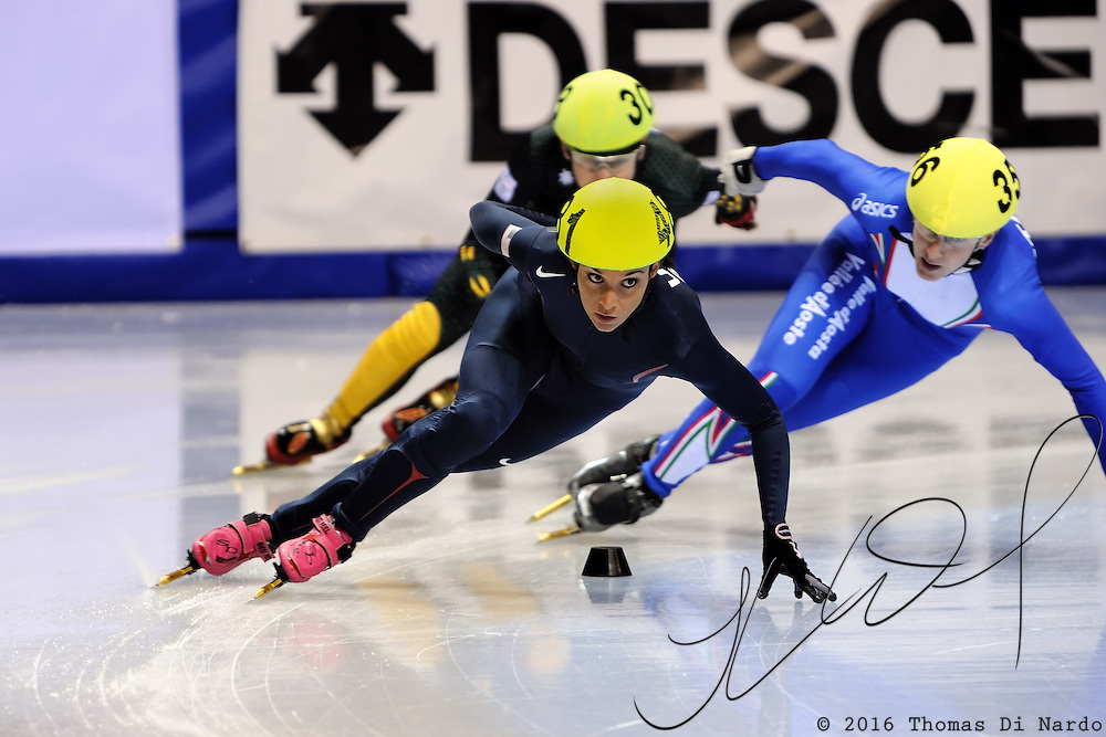 2008 World Cup Short Track - Vancouver - Allison Baver (USA) leads Cecillia Maffei (ITA) during 1500m Ladies Heat Race 5.