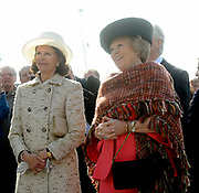 State visit of the Swedish king Carl XVI Gustaf and queen Silvia van Zweden to the Netherlands.<br /> <br /> On the Photo:<br /> <br /> The last day of their vist Queen Beatrix, Quieen Silvia and King Gustaf visit Delfshaven in the North of Holland. <br /> As part of their visit the Swedish royal couple and Her Majesty the queen went to Groningen Seaports in Delfzijl. A 3D-presentation concerning the future vision a port of Groningen with focus on northern European trade relations it is given, a durable port and energy.