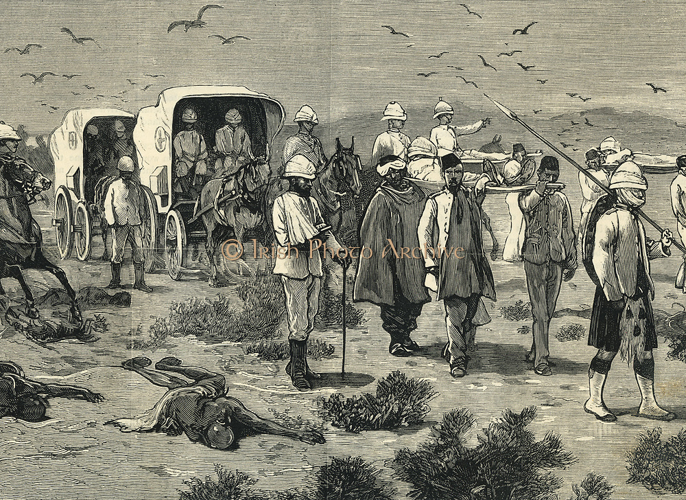 Red Cross collecting British wounded after the second battle of Teb, Sudan, 1884.
