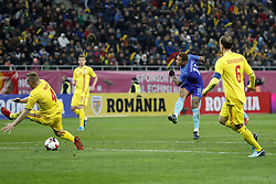 (L-R) Cosmin Moti of Romania, Florin Tanase of Romania, Memphis Depay of Holland, Vlad Chiriches of Romania during the friendly match between Romania and The Netherlands on November 14, 2017 at Arena National in Bucharest, Romania