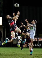 Dragons' Hallam Amos and Glasgow Warriors' Lee Jones vie for the high ball<br /> <br /> Photographer Simon King/Replay Images<br /> <br /> Guinness PRO14 Round 14 - Dragons v Glasgow Warriors - Friday 9th February 2018 - Rodney Parade - Newport<br /> <br /> World Copyright © Replay Images . All rights reserved. info@replayimages.co.uk - http://replayimages.co.uk