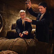 Expert blender Christian Guerin (L) and maitre-de-chai Christophe Valtaud at Martell Cognac, the region's oldest great house.Martell works with 1,200 suppliers across the Cognac region and supplies its luxury spirits around the world, especially in the USA and China.In 1715, Jean Martell, a young merchant originally from Jersey, created his own trading business at Gatebourse in Cognac, on the banks of the Charente River, and thus founded one of the very first cognac houses. Martell used grapes from the vineyards in the Borderies subregion, and used Tronçais oak for its casks, this made a combination that resulted in an exceptionally smooth cognac.