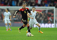 Melanie Leupolz of Germany Women is chased by Karen Carney of England Women<br /> - Womens International Football - England vs Germany - Wembley Stadium - London, England - 23rdNovember 2014  - Picture Robin Parker/Sportimage