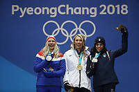 PYEONGCHANG,SOUTH KOREA,15.FEB.18 - OLYMPICS,NORDIC SKIING, NORDIC COMBINED - Olympic Winter Games PyeongChang 2018, Medals Plaza, award ceremony. Image shows Ragnhild Mowinckel (NOR), Mikaela Shiffrin (USA) and Federica Brignone (ITA). <br /> <br /> Norway only