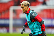 Charlton Athletic forward Lyle Taylor (9) warms up prior to the EFL Sky Bet League 1 match between Charlton Athletic and AFC Wimbledon at The Valley, London, England on 15 December 2018.