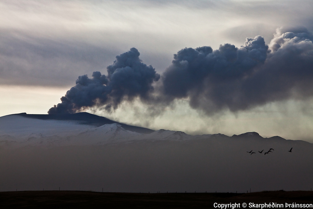Erupting volcano in Eyjafjallajökull, south Iceland, April 2010