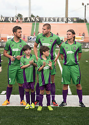 16 May 2015. New Orleans, Louisiana.<br /> National Premier Soccer League. NPSL. <br /> Max Moorman and Boyce Batten celebrate their 9th birthdays as mascots for the New Orleans Jesters.The New Orleans Jesters play at home to Nashville FC. Jesters drew 1-1 with Nashville.<br /> Photo; Charlie Varley/varleypix.com