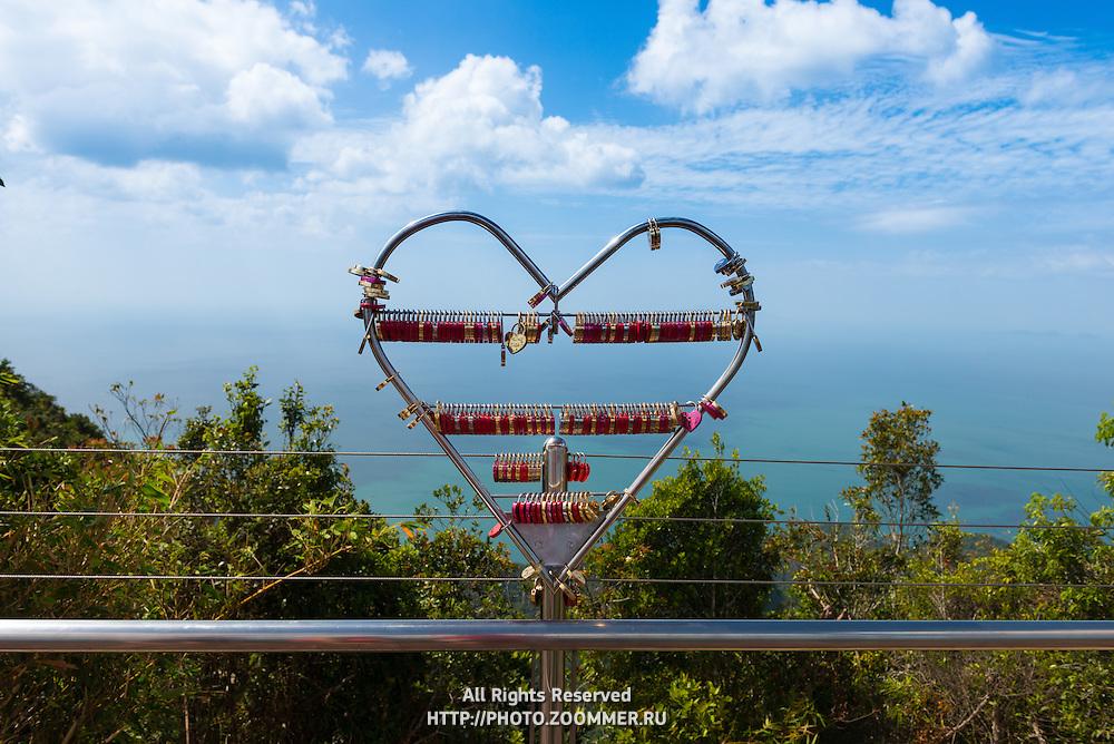 Love Lock On Langkawi Mountain Gunung Machinchang with Andaman sea panorama