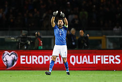 October 6, 2017 - Turin, Italy - Gianluigi Buffon of Italy national team gestures during the 2018 FIFA World Cup Russia qualifier Group G football match between Italy and FYR Macedonia at Stadio Olimpico on October 6, 2017 in Turin, Italy. (Credit Image: © Mike Kireev/NurPhoto via ZUMA Press)