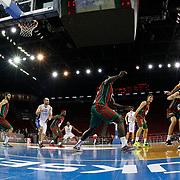 Anadolu Efes's Stratos Perperoglou (R) during their Turkish Basketball League match Anadolu Efes between Pinar Karsiyaka at Abdi Ipekci Arena in Istanbul Turkey on Sunday 02 November 2014. Photo by Aykut AKICI/TURKPIX