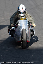 Racer Amelie Mooseder in the Sultans of Sprint 1/8 mile races during the Intermot International Motorcycle Fair. Cologne, Germany. Saturday October 6, 2018. Photography ©2018 Michael Lichter.