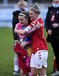 Sophie Baggaley of Bristol City Women and Jasmine Matthews of Bristol City Women after the final whistle of the match  - Mandatory by-line: Ryan Hiscott/JMP - 30/01/2021 - FOOTBALL - Twerton Park - Bath, England - Bristol City Women v Brighton and Hove Albion Women - FA Womens Super League 1