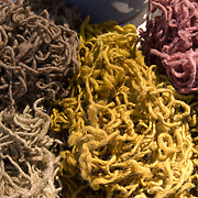 Freshly died organic yarn from sheeps wool