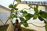 Lakshmi hangs out her washing outside her room at the Tamaraikulum Elders village, Tamil Nadu, India