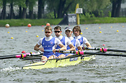 Poznan, POLAND.   2004 FISA World Cup, Malta Lake Course.  <br /> <br /> Fri. morning from the start pontoon<br /> GBR LM4-  Bow Mike Hennessy, Tim Male, Mark Hunter and Nick English <br /> <br /> 09.05.2004<br /> <br /> [Mandatory Credit:Peter SPURRIER/Intersport Images]