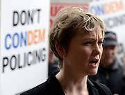 © Licensed to London News Pictures. 10/05/2012. Westminster, UK Shadow Home Secretary Yvette Cooper at the march. Off duty police officers take part in a Police Federation protest over proposed changes to pay and conditions. Tony Melville, the outgoing chief constable of Gloucestershire Police, was among the marchers. Photo credit : Stephen Simpson/LNP