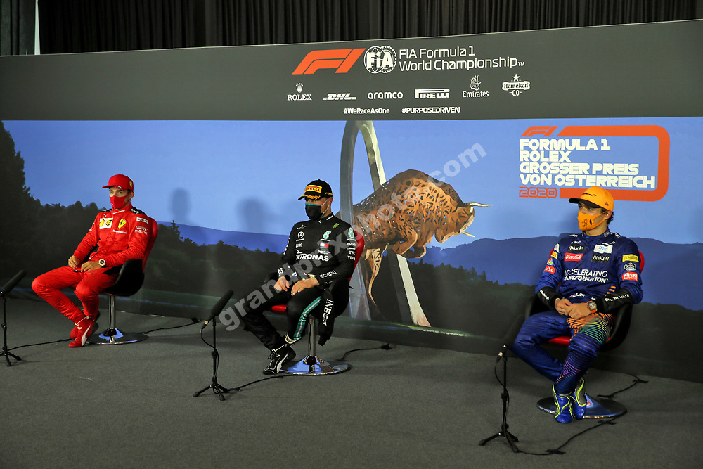 Valtteri Bottas (Mercedes), Charles Leclerc (Ferrari) and Lando Norris (McLaren-Renault) on the press conference after the 2020 Austrian Grand Prix at the Red Bull Ring in Spielberg. Photo: XPB/Grand Prix Photo