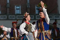 August 16, 2017 - Krakow, Poland - Members of the Regional Folk Group 'Krakowiacy Ziemi Brzeskiej' from Brzesko during their performance in Krakow's Main Square..On Thursday, August 17, 2017, in Krakow, Poland. (Credit Image: © Artur Widak/NurPhoto via ZUMA Press)