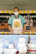 Dutch cheese vendor with face mask during the Covid 19 crisis France april 2020