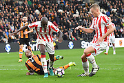 Stoke City defender Bruno Martins Indi (15) gets ball away from Hull City striker Abel Hernandez (9)  during the Premier League match between Hull City and Stoke City at the KCOM Stadium, Kingston upon Hull, England on 22 October 2016. Photo by Ian Lyall.