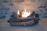 gas burning fire place and fake wood
