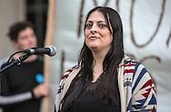 Sonya Bratlie,  Chahta Native American at rally against the Bayou Bridge pipeline.
