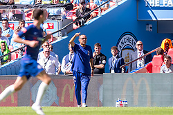 August 5, 2018 - Maurizio Sarri manager of Chelsea shouts instructions during the 2018 FA Community Shield match between Chelsea and Manchester City at Wembley Stadium, London, England on 5 August 2018. (Credit Image: © AFP7 via ZUMA Wire)