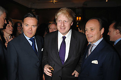 Left to right, HOWARD BARCLAY, BORIS JOHNSON and AIDEN BARCLAY at a party to celebrate the 180th Anniversary of The Spectator magazine, held at the Hyatt Regency London - The Churchill, 30 Portman Square, London on 7th May 2008.<br /> <br /> NON EXCLUSIVE - WORLD RIGHTS