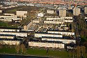 Nederland, Utrecht, Kanaleneiland, 11-02-2008; flats van het Kanaleneiland, naoorlogse wijk met veel eentonige semi-hoogbouw (portiekflats); stadsvernieuwing, stadsontwikkeling, planologie,wonen, woningbouw, aandachtswijk, achterstandswijk, probleemwijk, vogelaarwijk..luchtfoto (toeslag); aerial photo (additional fee required); .foto Siebe Swart / photo Siebe Swart