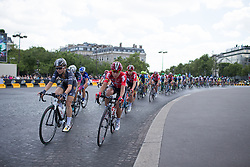Audrey Cordon (FRA) of Wiggle Hi5 Cycling Team and Elise Delzenne (FRA) of Lotto Soudal Cycling Team ride around the Arc de Triomphe during the La Course, a 89 km road race in Paris on July 24, 2016 in France.