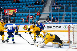 Ken Ograjensek of Slovenia, vs Arvidas Domeika of Lithuania and Mantas Armalis of Lithuania during ice hockey match between Slovenia and Lithuania at IIHF World Championship DIV. I Group A Kazakhstan 2019, on May 5, 2019 in Barys Arena, Nur-Sultan, Kazakhstan. Photo by Matic Klansek Velej / Sportida