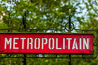 Metropolitain (Metro) sign, Paris, France.