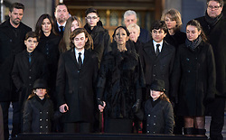Celine Dion, with sons Eddy and Nelson, and Rene-Charles Angelil, and family members stand before her late husband Rene Angelil's casket at Notre-Dame Basilica Friday, January 22, 2016 in Montreal. Photo by Paul Chiasson/ The Canadian Press/ABACAPRESS.COM  Angelil Rene Dion Celine Obseques Enterrement Funerailles Funeral  | 531659_010 Montreal Canada