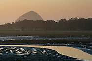 Tidal mud flats at sunset, near Baywood Park, Morro Bay, California